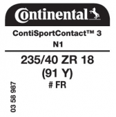 235/40 ZR18 (91Y) Continental ContiSportContact 3 FR N1 (Porsche Boxster)
