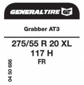 275/55 R20 117H General Tire Grabber AT3 XL FR
