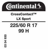 225/60 R17 99H Continental CrossContact LX Sport