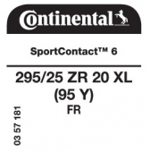 295/25 ZR20 (95Y) Continental SportContact 6 XL FR
