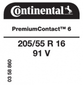 205/55 R16 91V Continental PremiumContact 6
