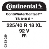 225/40 R18 92V Continental ContiWinterContact TS810 S XL FR * (BMW)
