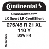 275/45 R21 110Y Continental CrossContact LX Sport XL FR ContiSilent LR (Land Rover)