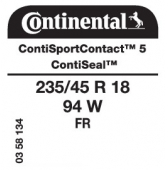 235/45 R18 94W Continental ContiSportContact 5 FR ContiSeal (Passat CC)