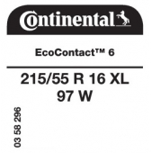 215/55 R16 97W Continental EcoContact 6 XL