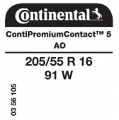 205/55 R16 91W Continental ContiPremiumContact 5 AO (Audi A3 3rd Gen)