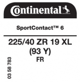 225/40 ZR19 (93Y) Continental SportContact 6 XL FR