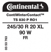 245/30 R20 90W Continental ContiWinterContact TS830 P XL FR RO1 (Audi)